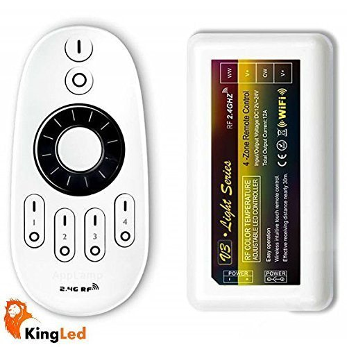KingLed - Kit Controller Wifi per Strip Led Monocolore o Strisce CCT Composto da Telecomando Wireless e Ricevitore Wifi 2,4GHz Funzione Dimmer o Variazione Colorazione per Bobine Color Temp a 12V o 24V , cod. 1127 + 0613