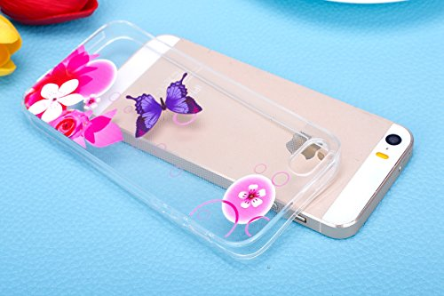 Coque iphone SE Flexible Souple Case,iphone 5s Housse Étui Transparente,Ekakashop Ultra Mince Coque de Protection en Soft TPU Silicone avec Motif Dentelle Diagonal Protecteur Back Flexible Gel Case Co Papillon Pourpre Fleur Rose