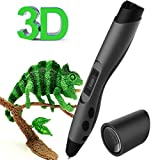 3D Pen, Kozy-Life Intelligent 3D Printing Pen for 3D Arts Drawing with Safety Holder, 3 Packs of PLA Filament Refills, Shovel Tool and Black Velvet Storage Bag, Suitable for ABS and PLA Filament[UK Adapter]