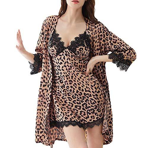 Yazidan Zwei Stücke Nachtwäsche Satin Morgenmantel Damen Sexy Kimono Damen Bademantel Kurz V Ausschnitt mit Gürtel und Babydoll Dessous Negligee Nachthemd Damen Sexy für Sommer -