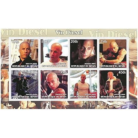 Vin Diesel foglio di francobolli per i collezionisti - 8 Mint never hinged stamps - Benin / 2002