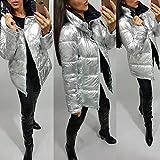 JEOHMMA Jacke Mantel Frauen Silber Wasserdichte Gepolsterte Reißverschluss Stehkragen Warme Winter Baumwolle gefütterte Jacke