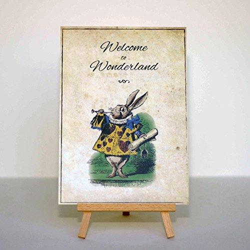 Alice in Wonderland Used Welcome to Wonderland Karte und Staffelei Hochzeit Party