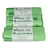 All-Green 6 Litre Biobag Compostable Kitchen Caddy Liners Food Waste Bin Liners, 150 Bags
