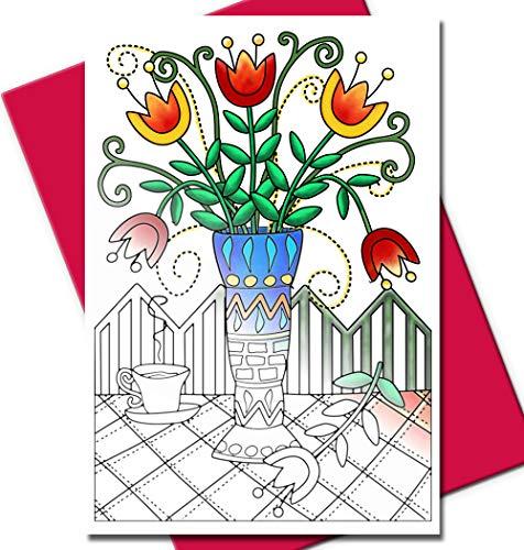 Geburtstagskarten zum Ausmalen von Erwachsenen für Geburtstage oder jeden Anlass, einzigartige Designs, Umschläge enthalten Garden/Fuchsia - 10 Cards
