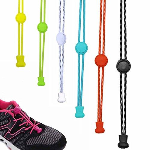 6 Paar Schnellschnürsystem Elastische Schnürsenkel mit Schnellverschluss-lock shoe laces-Schnürsenkel / Schuhbänder für Ihre Schuhe,perfekten Sitz und starken (Farbe 6 pair)