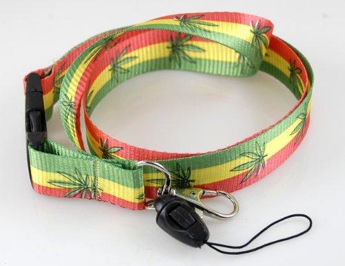 Fashion Red/yellow/green Marijuana Shinny I.d Holder & Cellphone Keyholder Lanyard by ACCmall