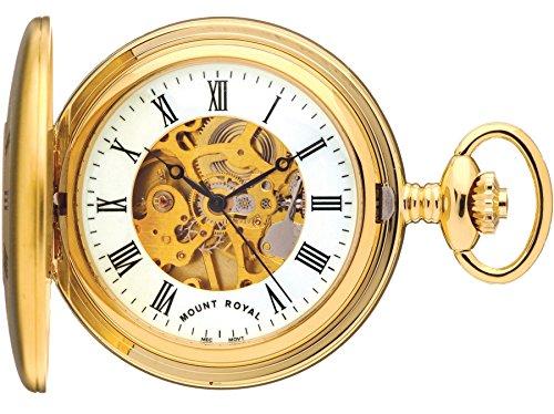 Skeleton Half Hunter Pocket Watch Gold Plated Plain Back - 17 Jewel Movement (Plain Pocket Watch)