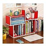 Bücherregale HUO Kleines Einfache Tisch Mini Student Schreibtisch Lagerung Lagerung Rack-51 * 17 cm (Farbe : Red)