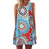 JUTOO Vintage Boho Frauen Sommer Printed Short Mini Dress