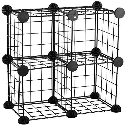 PrimeMatik - Armario organizador modular Estanterías de 4 cubos de 17x17cm metal negro