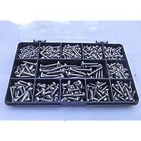 410 piezas Pozi Pan autorroscante Kit de tornillos. N.º 2, N.º 4, N.º 6 y N.º 8. Acero inoxidable A2-70.