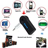 #6: US1984 Bluetooth 3.0 HandsFree Car Kit Bluetooth Music Receiver Adapter with Built-in Mic and 3.5mm Aux Output for Car Audio System, iPhone Samsung and Other Smartphones - BLACK