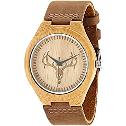SAIBANG Men's Wristwatch, Unisex Fashion Bamboo Wooden Wrist Watch with Natural Cowhide Leather Strap, Deer Head Design - Brown
