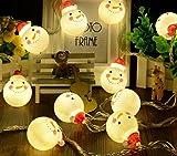 ELINKUME® LED Schneemann Lichterkette 20er Partylichterkette Deko für Weihnachten Hochzeit Geburtstag Silvester Party Batterie-betrieben 2.2M Warmweiß