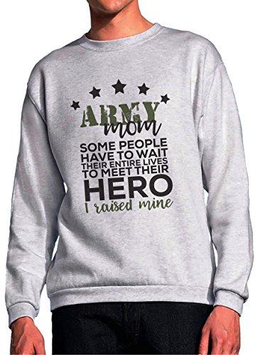 BlackMeow Army Mom Hero Grey Unisex Sweatshirt - Large Army Wife Sweatshirt