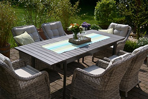 gartenm bel set como 6 tisch ausziehbar holzdekor mit 6 sessel rattan polyrattan geflecht. Black Bedroom Furniture Sets. Home Design Ideas