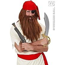 Peluca con barba marrón adulto - Única