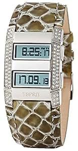 Esprit - ES101242705 - Montre Femme - Quartz Digital - Eclairage - Bracelet Cuir Vert