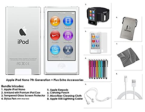 Apple iPod Nano 7G, 16GB -Silber + Extra Zubehör * NEUES Modell veröffentlicht Juli 2015 *