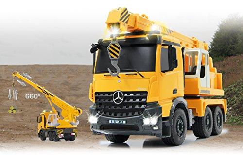 RC Baufahrzeug kaufen Baufahrzeug Bild 1: Jamara 405034 - Schwerlastkran Mercedes Liebherr 1:20 2,4G - Kran ausfahren und 660° drehbar, Seil heben / senken, gelbe LED Signallichter, programmierbare Funktionen, realistische Sounds,4 Radantrieb*