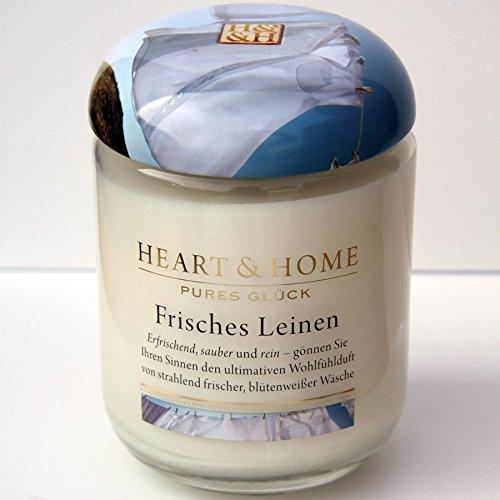 Leinen Duftkerze (Heart & Home Frisches Leinen, 1er Pack (1 x 310 g))