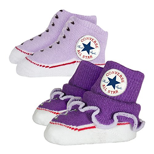 Converse Baby 2-er Socken Geschenk-Set Rüschen Frilly Chuck Infant Booties Allium Purple (violett lavendel) Shop Baby-booties
