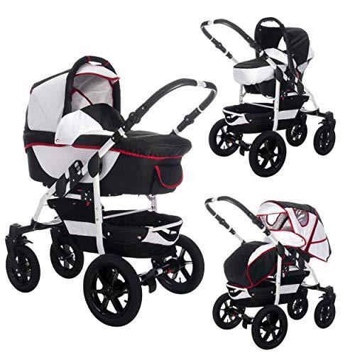 Bebebi Sidney | Hartgummireifen in Schwarz | 3 in 1 Kombi Kinderwagen Komplettset | Farbe: Canberra