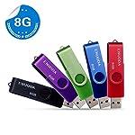 5 piezas 8GB USB 2.0 ENUODA Pendrive Multicolor Pivote Memorias Giratoria Plegable Diseño de Cierre (5 Colores Mezclados: Azul Negro Rojo Verde Violeta)