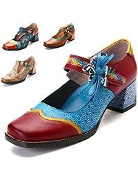 gracosy Zapatos de Cuero de tacón bajo de Mujer Merceditas Zapatos de salón de Cuero Mocasines