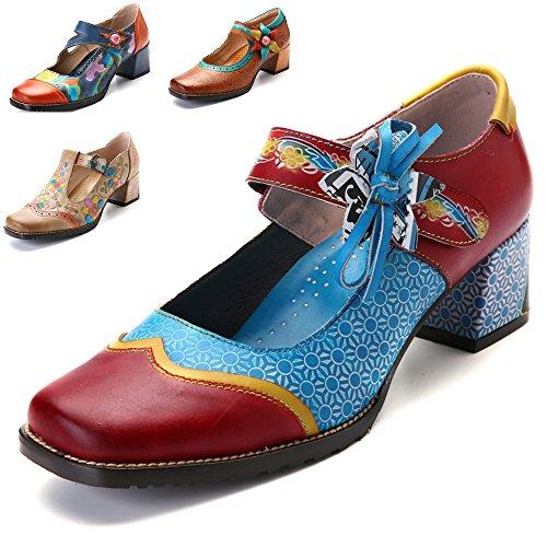 Gracosy Zapatos de Cuero de tacón bajo de Mujer Merceditas Zapatos de salón de Cuero...