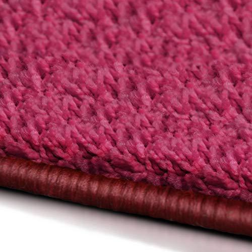 (Shaggy Läufer Barcelona   weicher Hochflor Teppichläufer für Flur, Wohnzimmer, Schlafzimmer etc.   mit GUT-Siegel und Blauer Engel   in vielen Größen   moderne Farben   66x250 cm   Pink)