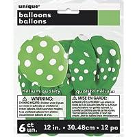 limettengrün Punkte Luftballons - 6 Stück Packung