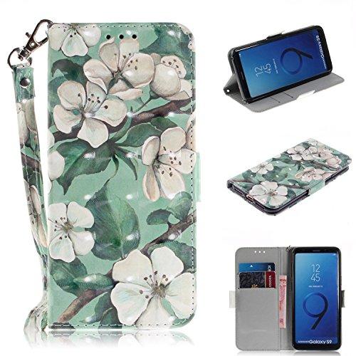 Galaxy S9 Hülle,Galaxy S9 Leder Handyhülle,WIWJ Wallet Case[3D Lackiertes Verbindungsmittel Bracket Holster]Schutzhüllen für Samsung Galaxy S9-Grüne Blatt Aquarell Blume