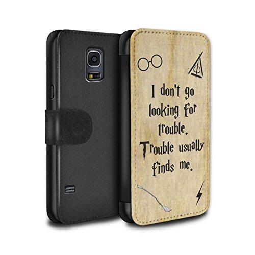 Stuff4® PU-Leder Hülle/Case/Tasche/Cover für Samsung Galaxy S5 Mini/Trouble Finds Me Muster/Schule der Magie Film Zitate Kollektion (Harry Potter S5 Fall)