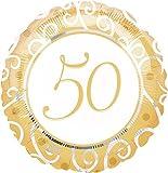 Folienballon * 50 JAHRE GOLD * // Glückwünsche fünfzig Jahre goldene Hochzeit Folien Ballon Party Helium Deko Ballongas