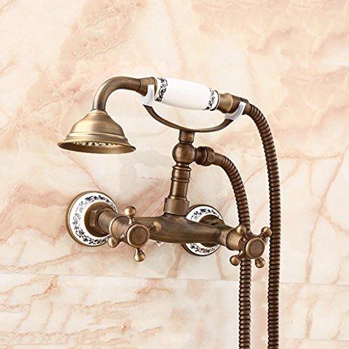 PLYY Dusche-Set Messing Telefon Niederschlag Wasserhahn Wanne Mischer Hahn Handdusche Wandmontiert