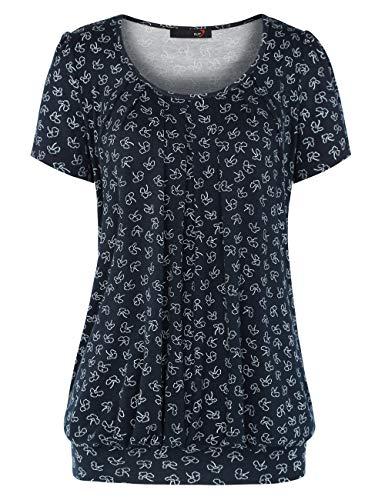 Blumen 2 U (DJT Damen Casual Falten Kurzarm T-Shirt Kurzarmshirt Rundhals Stretch Tunika Blau Blumen #2 XL)