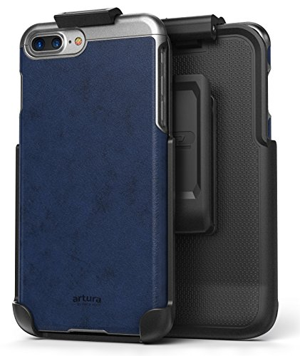 "iPhone 7 Plus (5.5"") Vegan Leather Belt Clip Case w/ Holster - Artura Collection by Encased (Jet Black) Oxford Blue"