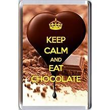 Keep Calm and MANGER DU chocolat Aimant De Réfrigérateur imprimé sur un image forme coeur rich noir en train d'être versé même plus chocolat! notre Poche séries - original Idée Cadeau pour chocoholic