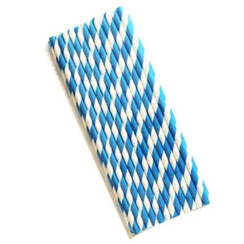 Skyeye 25 Stück Umweltfreundliche Farbe Papier Strohhalme Einweg Strohhalme Kindergarten manuelle Strohhalme Saft Cola Strohhalme (Blaue Streifen)