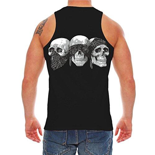 Männer und Herren Trägershirt Famiglia mit Rückendruck Schwarz
