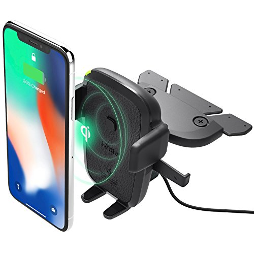 Oferta de iOttie Easy One Touch Qi Cargador inalámbrico con Ranura para CD | Carga rápida para Samsung Galaxy, Note y Carga estándar para Dispositivos iPhone y Qi | + Cargador Dual