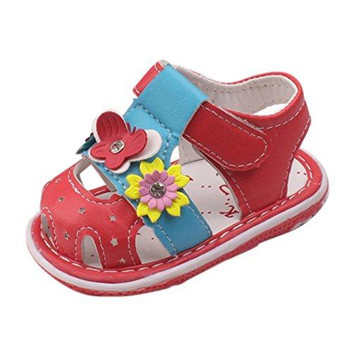 Schuhe Baby Mädchen, FNKDOR Neugeborene Weiche Rutschfest Lauflernschuhe Sandalen, 1-3 Jahre (12-18 Monate, Rot)