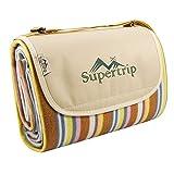 Supertrip Extra Large Picknickdecke wasserdichte sanddichte Fleece Picknickdecken Campingdecken Stranddecke mit Tragegurt Farbe Orange Streifen