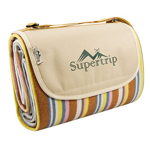 Supertrip Extra Large wasserdichte sanddichte Fleece Picknickdecken Campingdecken Stranddecke mit Tragegurt Farbe Orange Streifen