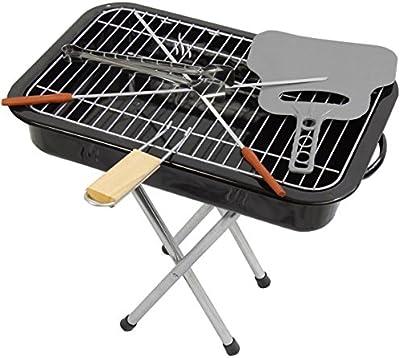 Barbacoa de carbón, Incluye Compartimentos para Pinzas de barbacoa y Grill de brochetas