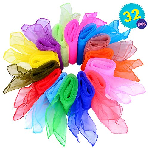 Set mit 32 quadratischen Kunstseide Schals - 16 verschiedene Farben - Perfekt für Gymnastik Geschicklichkeit Square Tanzgruppen Jonglieren - Sinnesspiel - Kindergarten Kinder & mehr