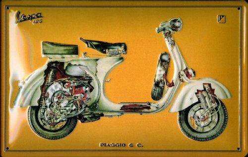 Pannello in metallo di 20x 30cm-vespa 125. di Super Qualità prodotto originale sotto licenza Replika.