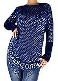 if she Damen Long Pullis Langarm Feinstrick Pullover aus Teddy-Wolle Kuschelweich und Warm Hüftlang in Tollen Farben, Farbe:Blau, Größe:Einheitsgröße